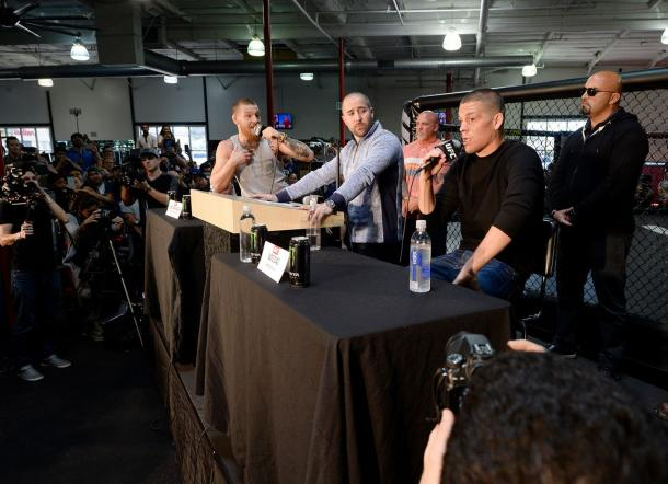 Featherweight champion McGregor and lightweight contender Diaz | Photo: INPHO/Raymond Spencer