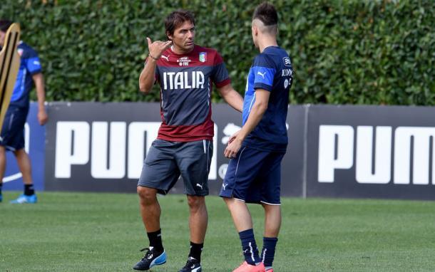 Conte ed El Shaarawy a Coverciano, sport.sky.it