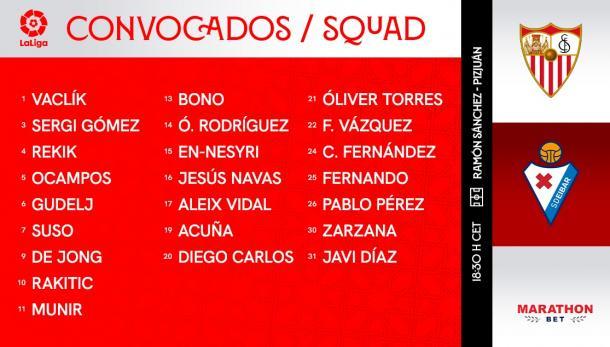 Lista de convocados del Sevilla - Eibar. Foto: sevillafc.es