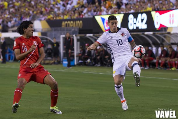 James Rodriguez will have to lead Colombia past Chile on Wednesday. Photo provided by VAVEL USA.