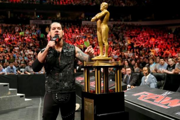 Baron Corbin on RAW after winning the Andre The Giant Memorial award at WrestleMania 32 / WWE.com