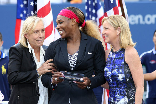 (L-R) Martina Navratilova, Serena Williams and Chris Evert after Williams won her 18th Grand Slam title at the US Open in 2014 (Corbis Sport/Tim Clayton)