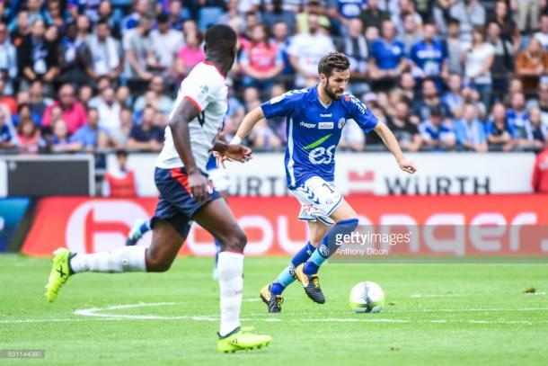 Corgnet helped Strasbourg defeat Lille 3-0 on his home debut. Source - Getty Images.