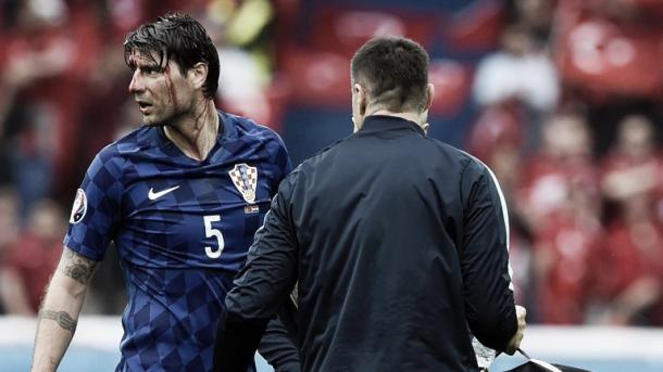 Above: Vedran Ćorluka been injured in Croatia's 1-0 win over Turkey | Photo: Sky Sports
