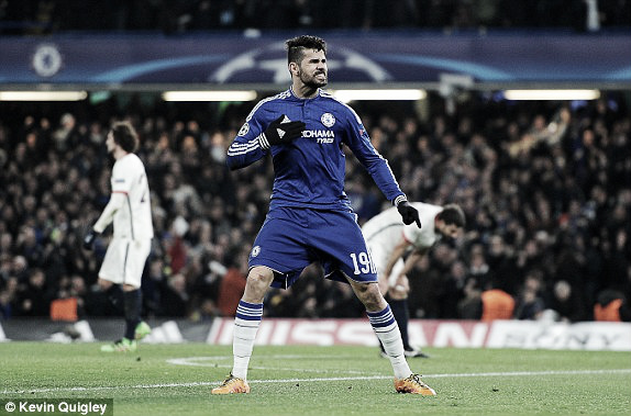 Above: Diego Costa celebrates in Chelsea's 2-1 defeat  to Paris Saint-Germain  Photo: Kevin Quigley