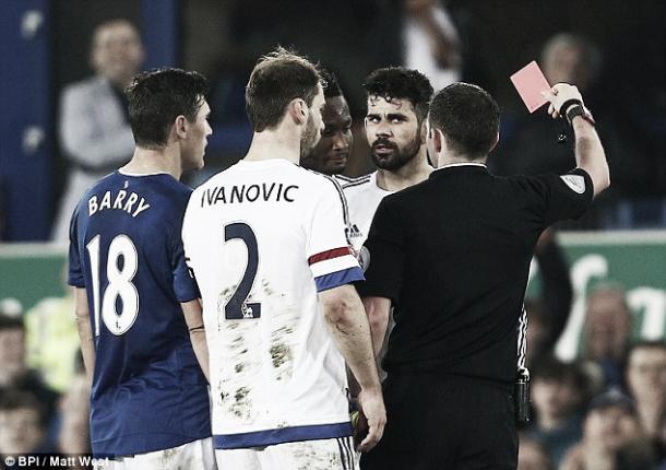 Above: Chelsea striker Diego Costa been dismissed in their 2-1 defeat to Everton last Saturday| Photo: Matt West