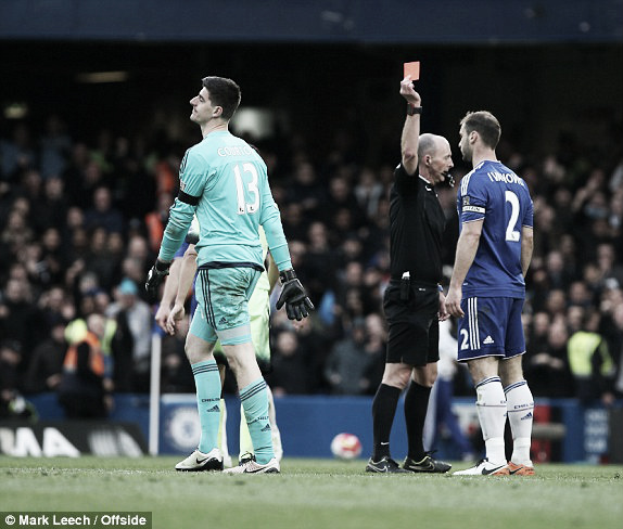 Above: Thibaut Courtois sees red in Chelsea's 3-0 defeat to Manchester City | Mark Leech