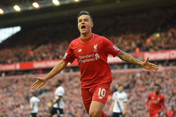 Coutinho celebrates scoring the match opener, his 7th league goal of the season. (Getty)