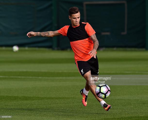 Coutinho in training for Liverpool. Source - Getty Images.