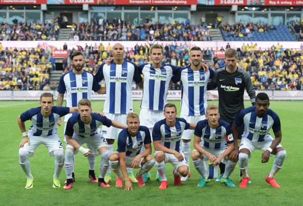 The Hertha team before the game. | Photo: Hertha BSC