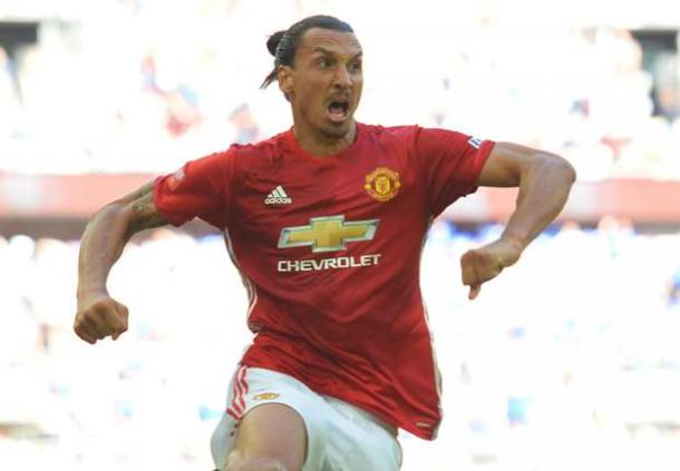 Zlatan celebrates his winner against Leicester at Wembley last weekend | Photo: Getty