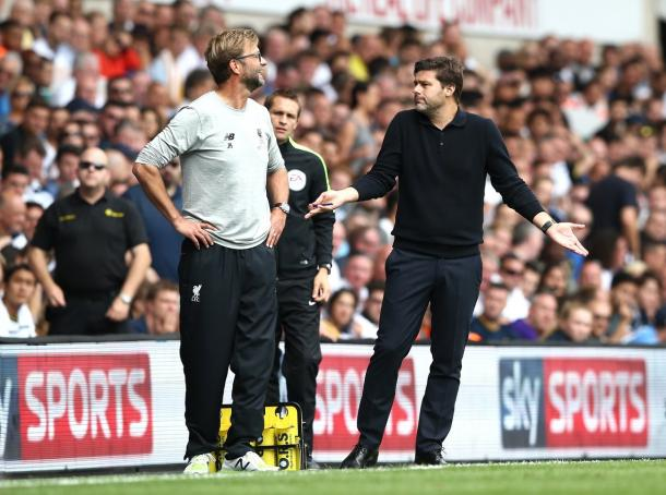 Pochettino and Klopp share a joke on the touchline at the weekend | Photo: Sky Sports