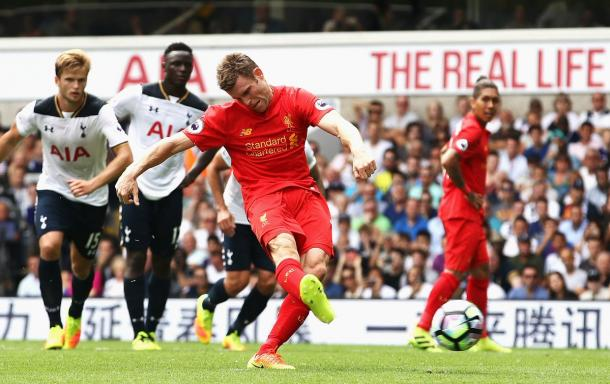 Milner gives Liverpool the lead from the penalty spot | Photo: Getty