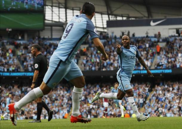 Sterling celebrates scoring the opener against West Ham in City's last game before the international break | Photo: Getty
