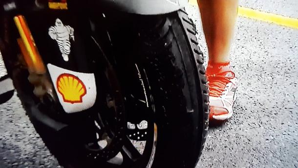 The state of Iannone's front tyre at the end of the race - BT Sport