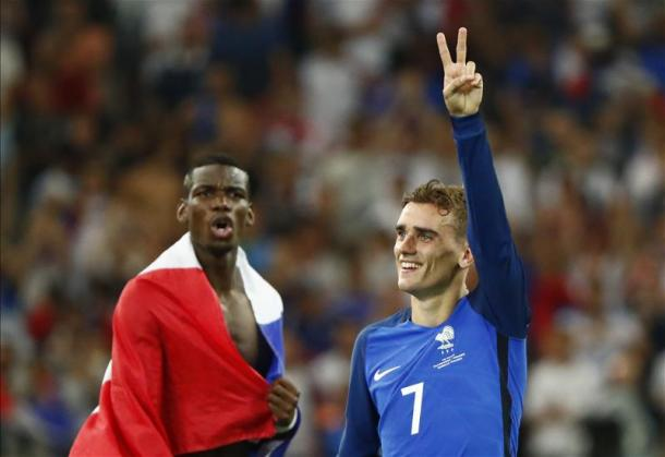 Griezmann and Pogba during their time at Euro 2016 | Photo: Getty