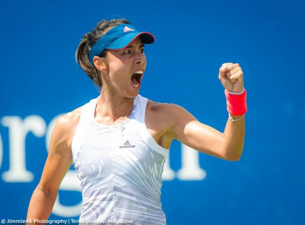 Wang Qiang celebrates her win over Kasatkina last year | Photo: Jimmie48 Tennis Photography