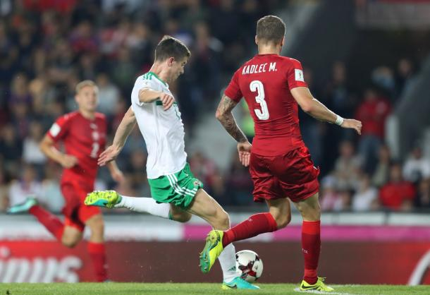 McNair had Northern Ireland's best chance of the game | Photo: Getty