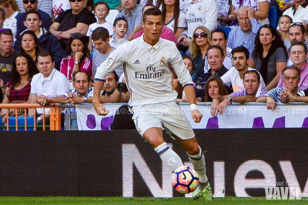 Cristiano Ronaldo en el partido frente al Eibar | Foto: Daniel Nieto - VAVEL