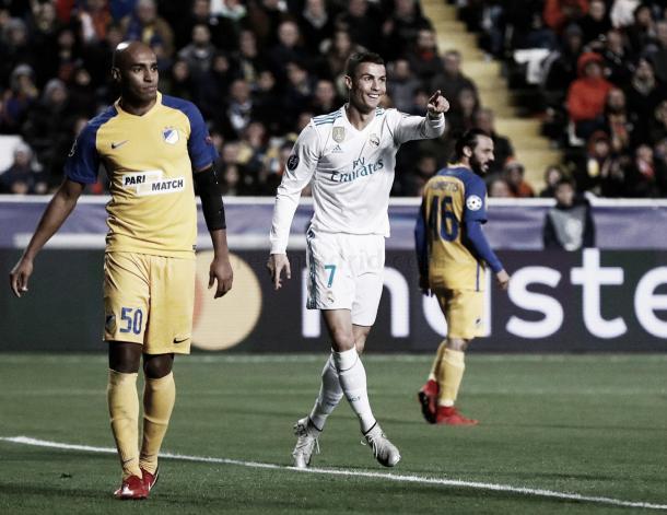 Cristiano celebra el gol ante el Apoel. Foto: Real Madrid.