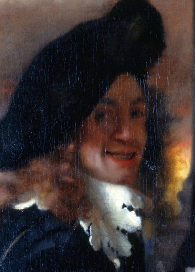 """""""La alcahueta"""" (detalle) posible autorretrato de Vermeer (c.1656)"""
