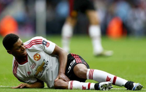 Rashford went off injured against Crystal Palace at Wembley |