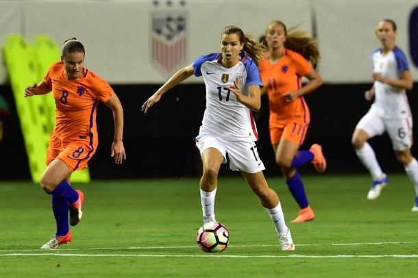 Tobin Heath surges past Sheride Spitse during the match | Source: ussoccer_wnt
