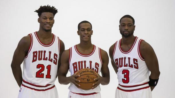 Butler, Rondo y Wade, el nuevo trío que busca llevar a Chicago a lo más alto de la NBA. / Foto: NBA.