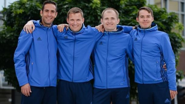 Anastasios Papapetrou, Jens Maae, Aleksei Vorontcov & Mika Lamppu (Cuarteto arbitral) | Foto: www.uefa.com