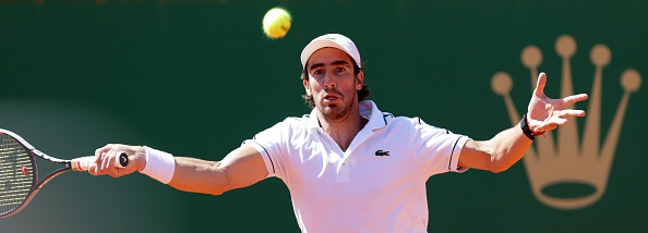 Pablo Cuevas hits a forehand during his second round match. Photo: Jean Christophe Magnet/AFP/Getty Images