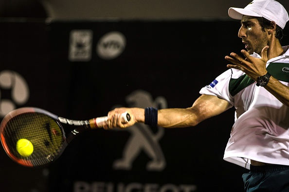 Cuevas drills a forehand during his victory. Photo: Yasuyoshi Chiba/Getty Images/AFP