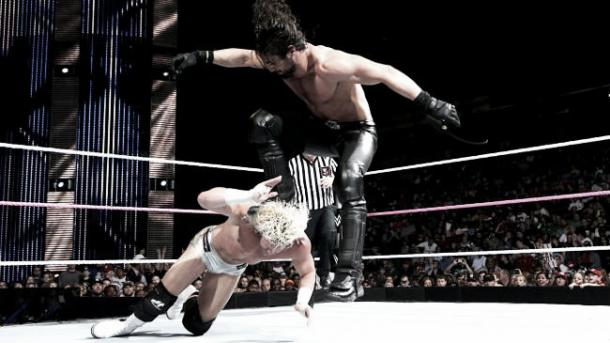 Seth Rollins' curb stomp was banned (image: mtv.co.uk)