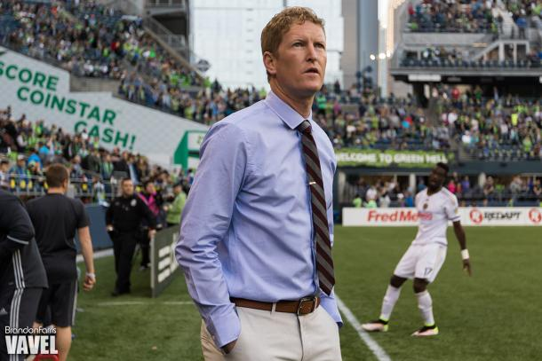 Union manager Jim Curtin (left) was very pleased with homegrown midfielder, Derrick Jones' debut performance.