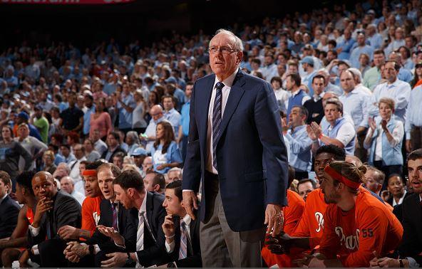 Head coach Jim Boeheim of the Syracuse Orange coaches against the North Carolina Tar Heels / Peyton Williams - UNC/Getty Images