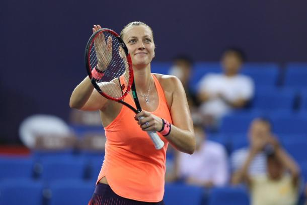 Kvitova acknowledges the crowd after winning her debut match in Zhuhai. Photo credit: WTA Elite Trophy.