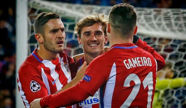 La gioia di Gameiro, Griezmann e Koke | Foto: @atleti