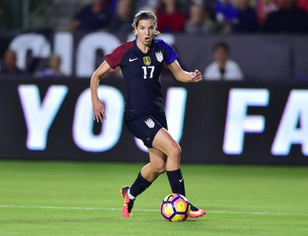 Tobin Heath in action for the US | Source: ussoccer.com