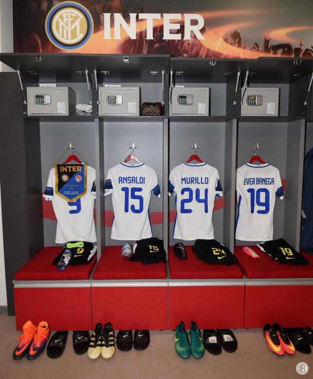 Lo spogliatoio dell'Inter nel pre-gara | Twitter @Inter