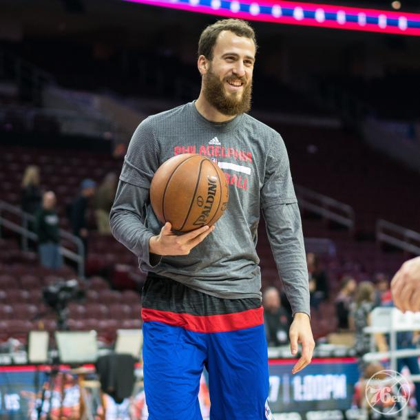 Sergio Rodríguez durante el entrenamiento | Foto: Philadelphia 76ers