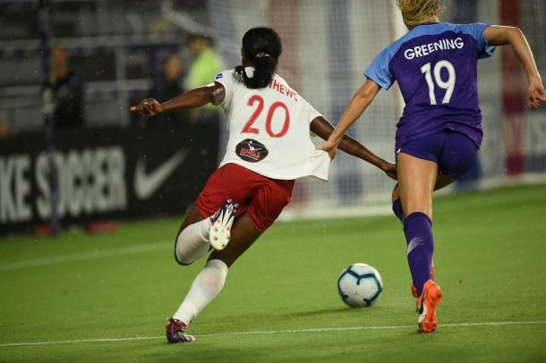 Cheyna Matthews (20) was an offensive force for Washington in this match. | Photo: isiphotos.com