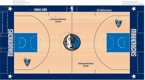 Diseño de la pista de los Dallas Mavericks | Fotografía: Basket-infos