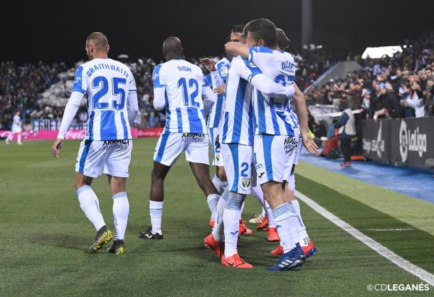Los jugadores del Leganés celebrando el 1-0   Foto: CD Leganés