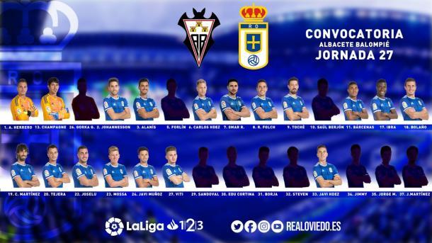Convocatoria para el partido | Imagen: Real Oviedo