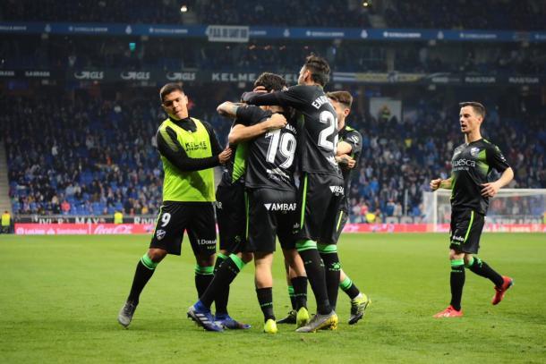 Los visitantes celebrando el gol del empate / Foto: SD Huesca