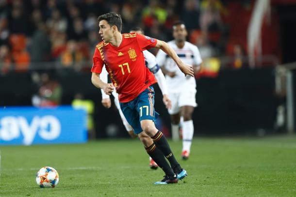 Jaime Mata durante el partido ante Noruega / Fuente: Getafe CF
