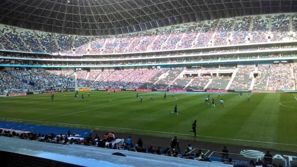 La cancha del Estadio BBVA    Foto: Juan Carlos Monroy / VAVEL México