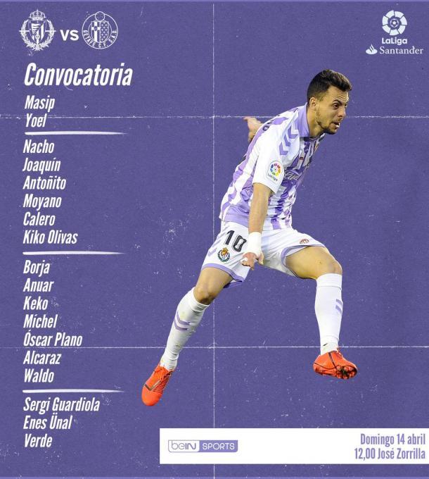 Convocatoria del Real Valladolid