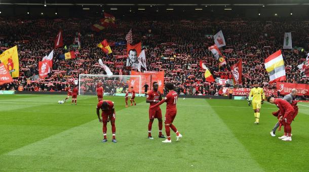 Imagen de los jugadores del Liverpool en Anfield. FOTO: Liverpool