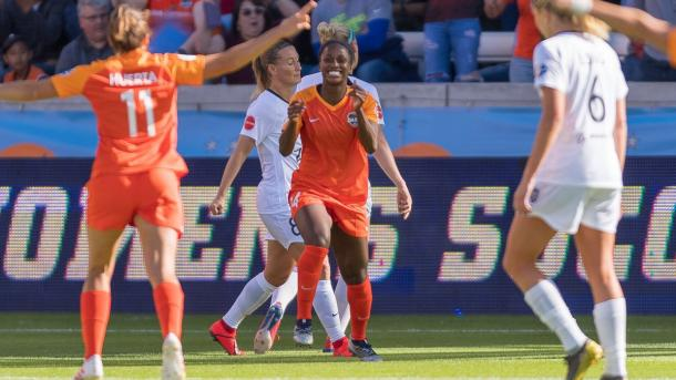 Nichelle Prince celebrates her goal against Reign FC. | Source: Houston Dash