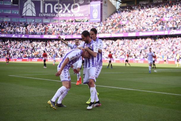 Waldo celebra su gol con los compañeros | Real Valladolid